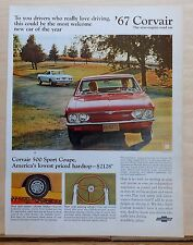 1966 magazine ad for Chevrolet - 1967 Corvair 500 Sport Coupe, most welcome car