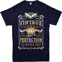 Personalised Made in 1963 Vintage T-Shirt, Born 1963 Birthday Age Year Gift Top
