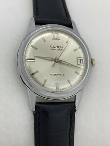 Vintage Gruen Precision N510CA Mechanical 17J Men's Wrist Watch Running!