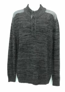 Method Mens Black and Gray Long Sleeve Pull Over Sweater Size Large