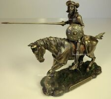 DON QUIXOTE ON HORSE JOUSTING Sculpture Spanish Statue Antique Bronze Finish