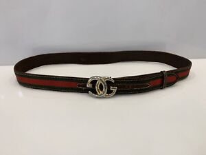 Vintage Gucci Belt Web Stripe GG Buckle
