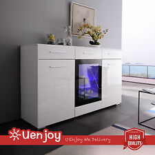 High Gloss White Display Sideboard Cabinet Cupboard Buffet Dresser Unit with LED