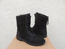 UGG DANEY BLACK SUEDE/ SHEEPSKIN WINTER LACE-UP BOOTS, US 7.5/ EUR 38.5 ~ NIB