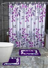 Hinata Purple Leaves Bathroom Accessory Set Shower Curtain Toilet Bath Mat Hooks