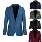 Fashion Luxury Mens Casual Formal One Button Suit Dress Blazer Coat Jacket Top