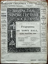 More details for birmingham sunday lecture society programme. may blithe 28th march 1926