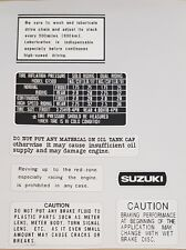 SUZUKI GT500  WARNING LABEL DECAL KIT