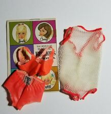 Vtg Barbie #1160 Orig Net Cover Up With 2 Piece Orange Swim Suit + Booklet