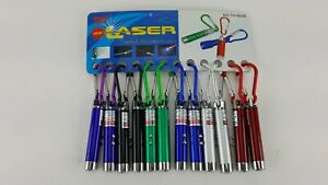 12 PACK LOT ON A CARD LASER POINTER KEY CHAIN WITH REGULAR LIGHT