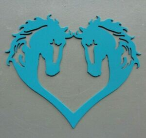 "Heart Shaped Horse Heads Plasma Cut Metal Art Bright Turquoise 10"" W x 8-1/4"" T"