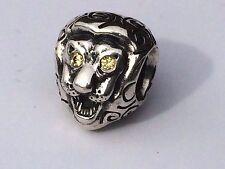 Authentic Pandora Lion Head with yellow Citrine Eyes Charm 790443 retired rare
