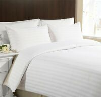 CLASSIC STRIPE 400 Thread Egyptian Cotton 12'' Deep Fitted Sheet White King Size