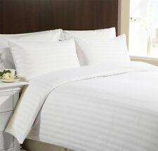 CLASSIC STRIPE 400 Thread Egyptian Cotton House Wife Pillow Cases Pair White