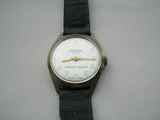 Mens Vintage Gold Tone Lucerne De Luxe Swiss Made WristWatch White Face