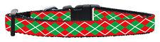 Red & Green Argyle Designer Dog Collar - Medium - 25-45cm