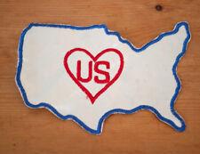 Vintage United States US Heart Outline Satin Embroidered Letterman Varsity Patch