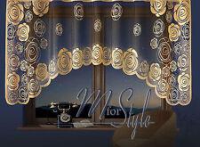 Jardiniere Net Curtain Golden Beige Pattern on black warp Ready Made