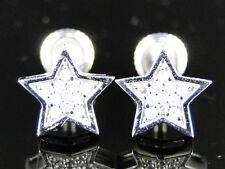 10K White Gold Mens/Ladies Star Shape 8 Mm Diamond Stud Earrings