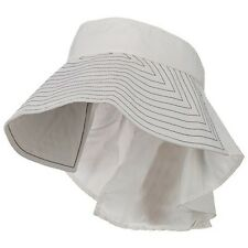 Taslon UV Sun Protection Wide Brim Packable Visor With Flap WHITE