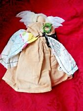 Handmade Folk Art Doll -Cloth Angel w/Feather Wings Signed Henry Curtis '95
