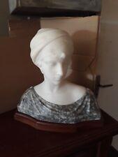 sculpture en marbre et albâtre signée PUGI, vers XIX XX buste H 32 cm - 12,35 kg