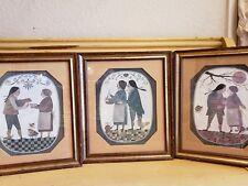 Set Of R.Davey Folk Original Framed Primitive  By  TURNER