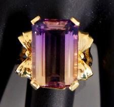 14k Yellow Gold Emerald Cut Purple Amethyst Ametrine Citrine Cocktail Ring