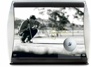 """TIGER WOODS Autographed """"Lining it Up"""" Photo & Ball in Curve Display UDA LE 100"""