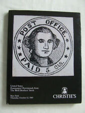 Stamp Auction Catalogue -Us Postmasters Provisionals Weill Bro-Christies 1989