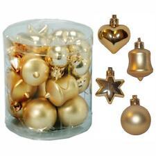 Décoration sapin de Noël 18 Multi Pack Étoile Cœur cloche Babioles - Doré
