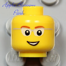 NEW Lego Male Boy MINIFIG HEAD w/Eye Glasses & Smile -Police/Agents/Power Miners