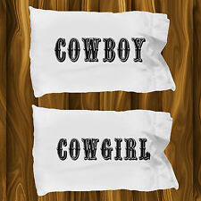 Cowboy and Cowgirl Pillow Cases ~ 2 White Microfiber Couples Pillowcases
