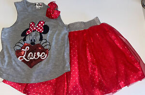 Girl's Minnie Mouse Skirt and Tank Outfit Set Size 6/6X Red Grey Summer Disney