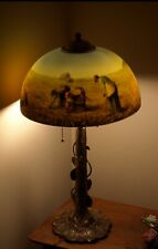 Vintage Reverse Painted Style Lamp Shade & Lamp