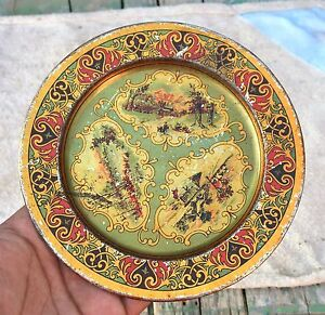 Vintage Tin Wall Decorative Plate Nature Print Green Shaded Litho Collectible