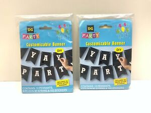 2 - DG Party DIY Black Flag Banner With 102 Letter Stickers 9 Ft