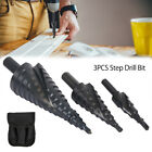 3x Step Drill Bits Set HSS Tin-Coated Cone Hole Cutter 4-12/20/32mm+Blue Pouch`