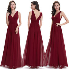 UK Ever-Pretty Burgundy V-Neck Long Bridesmaid Evening Formal Party Prom 09016