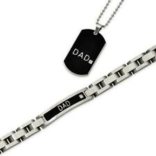 Stainless Steel & Diamonds Dad ID Bracelet & Dog Tag Father's Day Gift Set