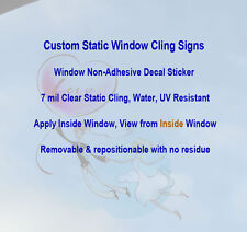 Clear Static Window Cling Signs Printing, Non-Adhesive Decal Sticker, CF