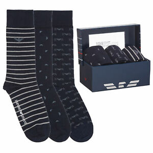 Emporio Armani Mens Calza 3 Pack Socks In Gift Box