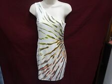 cache one shoulder dress metallic gold  size small
