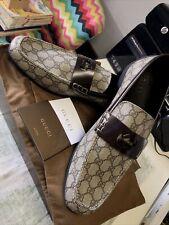 NOS Gucci Mens Monogram Wimbledon Sport Loafers Beige-Ebony/DK Cocoa Size 14