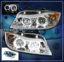 2006 2007 2008 BMW E90 3-SERIES HALO PROJECTOR HEADLIGHTS CHROME 328XI 335XI