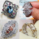 Women Men 925 Silver Jewelry White Topaz Wedding Engagement Ring Size 6-10