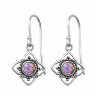 925 Sterling Silver Flower with MultiLavender Opal Gemstone Drop/Dangle Earrings