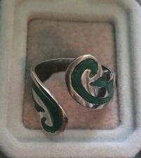 Turquoise Open Ring Genuine 1970s Vintage Silver