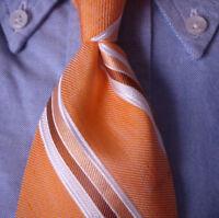 Brooks Brothers Tie Silk Linen Cotton Orange White Stripe  MSRP $79.50 ~ NEW NWT