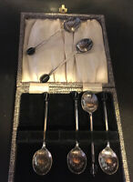 Art deco Vintage PLATE EPNS BOXED set SIX 6 BLACK COFFEE BEAN SPOONS TEASPOONS